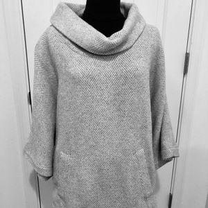 J. Crew herringbone cowl neck wool blend shirt